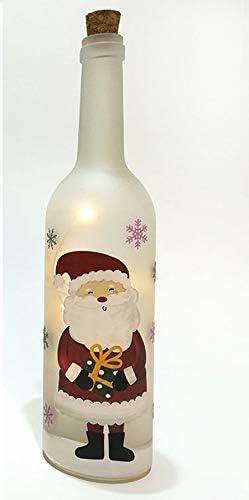 Vilys House Botella Cristal Decorada Navidad con luz Interior de led a Pilas 7 cms diámetro y 30 cms de Altura (Cuatro Modelos Disponibles) (Papa Noel): Amazon.es: Hogar