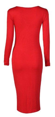 Fast Fashion Damen Langarm Ebene Bodycon Midi Maxi Dress (36/38, Maxi-red)