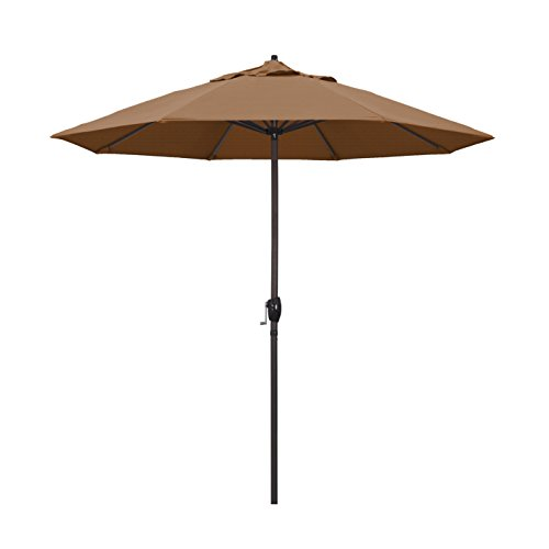 California Umbrella 9' Round Aluminum Market Umbrella, Crank Lift, Auto Tilt, Bronze Pole, Teak Olefin