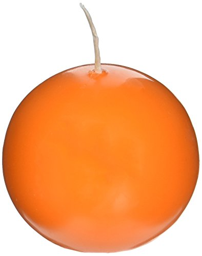 Biedermann & Sons Round-Shaped 2-3/8-Inch Diameter Ball Candles, Set of 4, Cantaloupe Orange