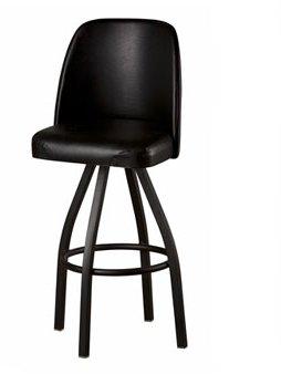 Single Foot Ring Swivel Stool - Oak Street Manufacturing SL3136-BLK Black Powder Coat Swivel Frame Barstool with American Made Black Vinyl Bucket Seat, 19