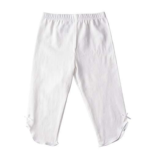 Kids Bron Toddler/Little Girls Capri Leggings Pants (White-1 Pack, 3T/Toddler Girl)
