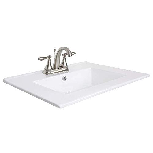 """24"""" Drop in Rectangle Bathroom White Ceramic Sink Top Countertop with Brushed Nickel High Arc Temp Control 3 Head Faucet with Overflow (T01DN02)"""