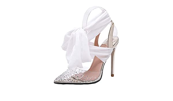 f1c68744293 Copercn Women's Ladie Transparent PVC Rhinestone Collage Close Toe Wide Ribbon  Tie Up Patent Leather Ankle Strap Stiletto Heel Lace-up Pointed Sandals ...