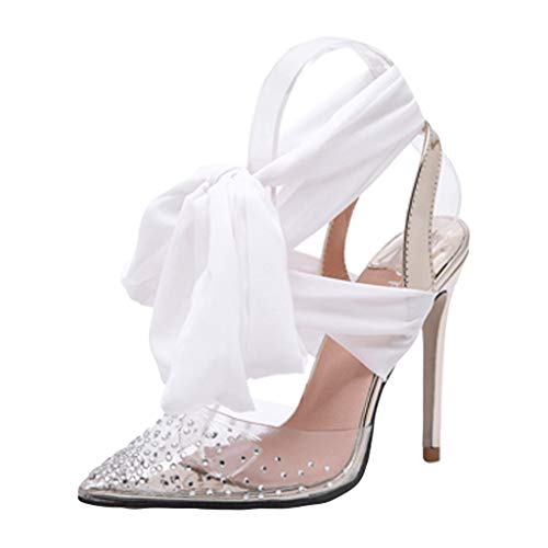 Women Stiletto High Heels,❤️ FAPIZI Pointed Rhinestone Sexy Sandals Casual Silk Strappy Wedding Party Evening Shoes White