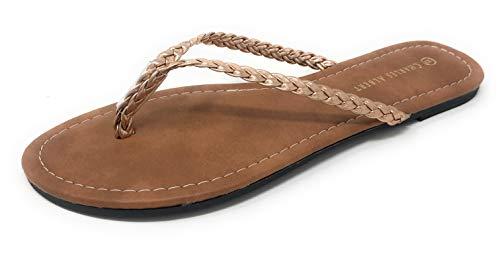 Albert Leather - Charles Albert Women's Easy Braided Thong Flip Flop Sandal (9, Rose Gold)