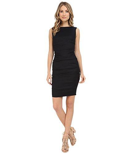 Nicole Miller Women's Lauren Stretch Linen Dress, Black, 0