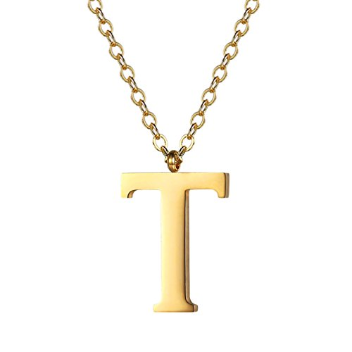 PROSTEEL Gold Initial Letter T Necklace Alphabet Name Jewelry Boy Girl Women Personalized Friend Gift 18K Plated Minimalist Letter Pendant Men's Necklaces