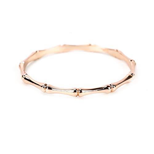 HUELE Rose Gold Bamboo Bangle Bracelet for Women Girls