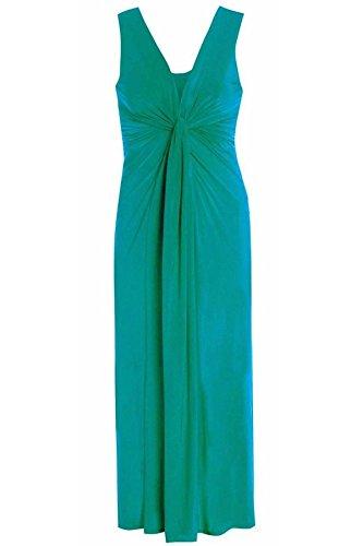 21FASHION Boob Panel 26 DRESS Twist Knot 16 Maxi Long Grecian Ladies TEAL Dress Womens Evening MAXI FqBFUrRxw