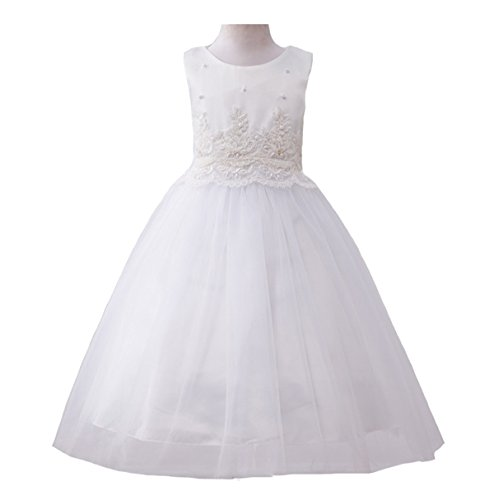 AliceHouse Lace Flower Girl Wedding Dress Girls First Communion Dress Gorgeous Princess Gown GD40 White Size (First Communion Dresses 2017)