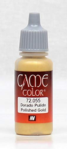 Vallejo Game Color Acrylic Paint Polished Gold 17ml Jar #72.055