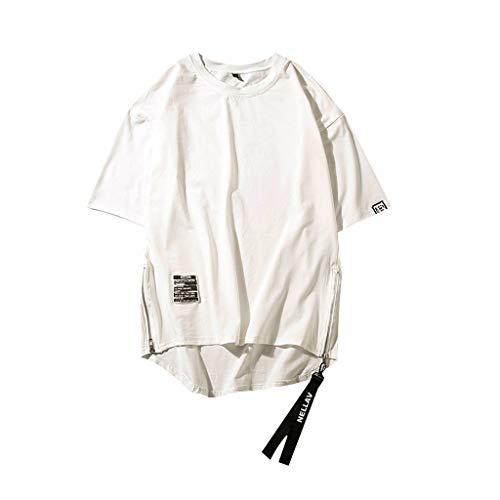 FEDULK Plus Size Men's Hip Hop Style Tee Side Zipper Plain O Neck Short Sleeve Summer T-Shirt Tops Blouse(White, XX-Large)