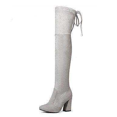 Heart&M Damen Schuhe Wildleder Herbst Winter Komfort Neuheit Modische Stiefel Stiefeletten Stiefel Blockabsatz Spitze Zehe Oberschenkel-hohe dark grey