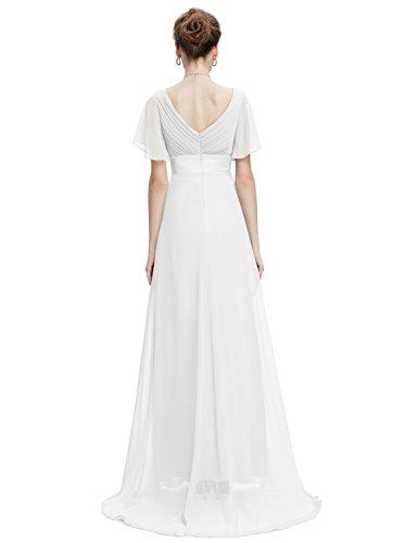 Pretty mit Damen Ausschnitt 09890 V Schleppe Festkleider Weiß Ever Abendkleider Lange pdAwqx1AC