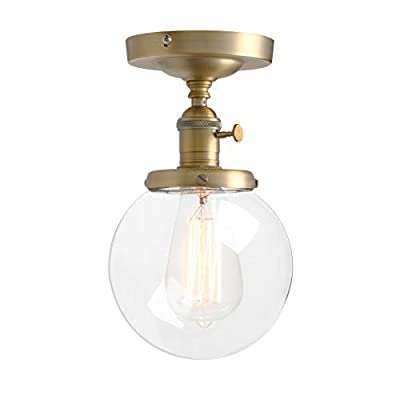 """Pathson Industrial Antique Style Dia 5.9"""" Flush Mount Light Plantation Collection Flush Mount Ceiling Light with Clear Glass Globe Shade Ceiling Light Fixtures"""