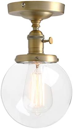 Pathson Industrial Brass Semi-Flush Mount Ceiling Light