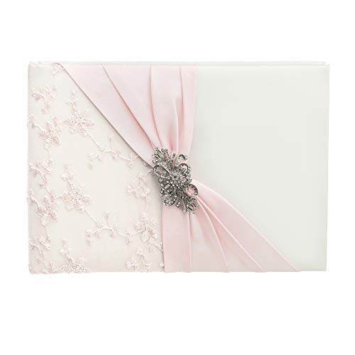 - Lillian Rose GB345 Ivory and Pink Lace Wedding Guest Book with Silver and Rhinestone Brooch, Measures 8.5