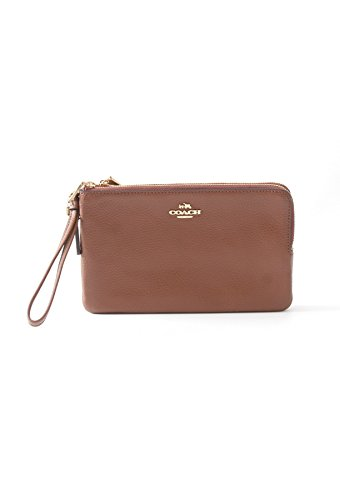 Coach Pebbled Leather Double Corner Zip Wristlet F87590 (Luggage) by Coach