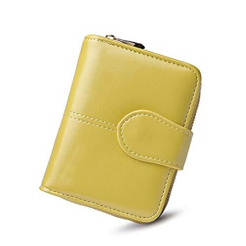 Women Oil Wax Leather Wallet Purses Big Clutch Coin Card Holders Light Green S