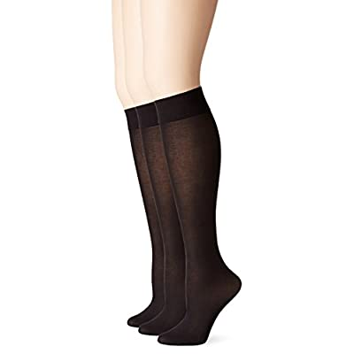 No Nonsense Women's Silky Trouser Knee High Sock, 3 Pair Pack at Women's Clothing store