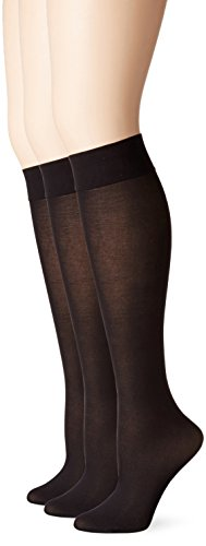 No Nonsense Women's Silky Trouser Sock 3-Pack, Black, 4-10
