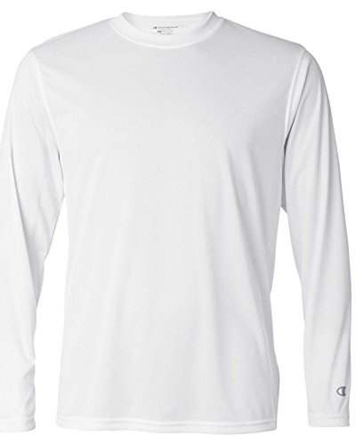 Champion Adult Double Dry Long-Sleeve Interlock T-Shirt, Wht, XX-Large ()