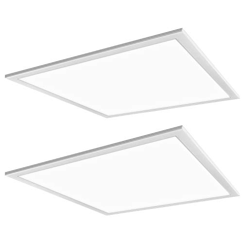 Hykolity 2x2 FT White LED Flat Panel Troffer Light, 40W 5000K Recessed Edge-Lit Drop Ceiling Light, 4200lm Lay in Fixture for Office, 0-10V Dimmable, 3-Lamp F17T8 Fixture Replacement, 2 Pack