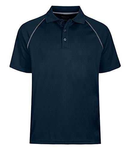 TIHEEN Men's Soft Wicking Lightweight Cool Polo Shirt Short Sleeves (Navy XL)