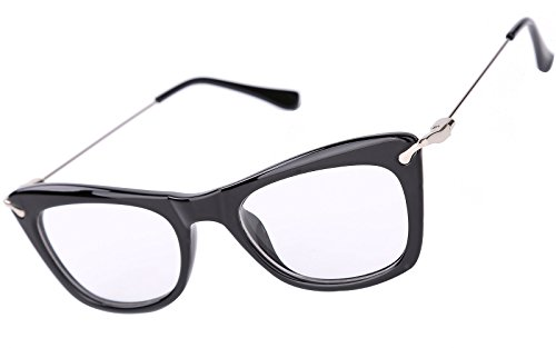 Beison Womens Cat Eye Glasses Frame With Metal Arms Clear Lens (Black, - Glasses Plastic Prescription