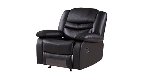 American Eagle Furniture 3 Piece Bayfront Collection Complete Leather Reclining Living Room Sofa Set, Black