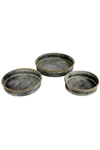 Vagabond Vintage, Set of 3 Round Metal Trays with Copper Finish by Vagabond Vintage