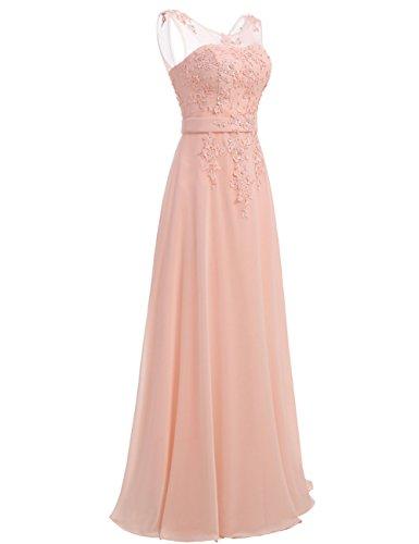 Elegant LuckyShe 2018 Brautjungfernkleid Lang für Rosa Hochzeit Abendkleider Damen Chiffon Spitze zPFXrzB
