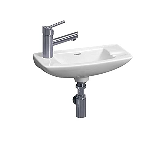 whitehaus wh1 103l wh isabella 17 12 inch small wall mount lavatory basin with center drain and left hand faucet drilling white - Small Bathroom Sink