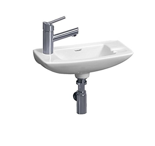 - Whitehaus WH1-103L-WH Isabella 17-1/2-Inch Small Wall-Mount Lavatory Basin with Center Drain and Left-Hand Faucet Drilling, White