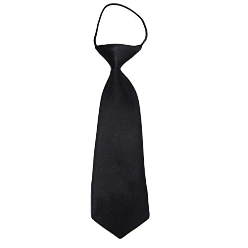 Easy Slip On Solid Color Polyester Tie, 1 to 6 years (Black) ()