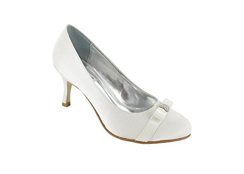 Ladies Lexus Bridal Closed Toe Court Shoe with Textile Bow and Diamante Trim in Ivory. Ivory 31tOZWko