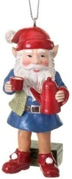 On Holiday Camping Gnome Holding a Coffee Pot and Cup Santa Hat Christmas Tree Ornament