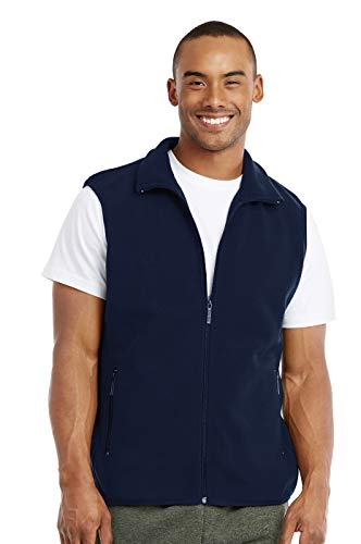 Knocker Men's Polar Fleece Zip Up Vest (3XL, Navy)