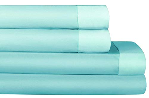 AURAA Comfort 500 Thread Count 100% Performance Cotton Sheet Set - Reversible King Sheets -4 Piece Set,Soft & Smooth Sateen Weave,Upto 16