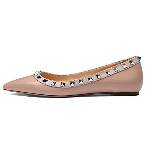 Studded Ballerina Flat - Womens Studded Flats Shoes Pointed Toe Ballerina Leather Pumps Nude Pink/Gold Studs Size 7