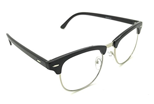 MyUV Vintage Retro Classic Half Frame Sunglass Horn Rimmed Clear Lens Eye Glasses (Black/Silver, - Silver Rimmed Eyeglasses