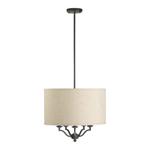 Quorum International 8096-5-86 Atwood Collection 5-Light Pendant, Oiled Bronze Finish with Linen Fabric Shade