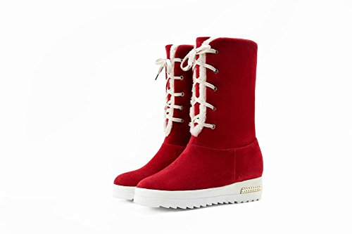 Latasa Womens Lace-up Short Winter Snow Boots Red YCHTvVEeb