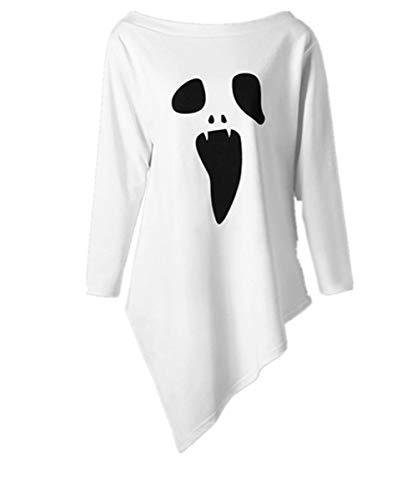 iYBUIA Halloween Womens O-Neck Long Sleeve Ghost Print Sweatshirt Pullover Tops Blouse(White ,M) -