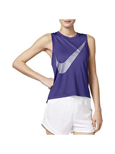 Nike Women's City Core Dry Racerback Running Tank Top,Dark Iris,Medium