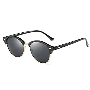 AZORB Polarized Clubmaster Round Sunglasses Unisex Semi-Rimless Horn Rimmed