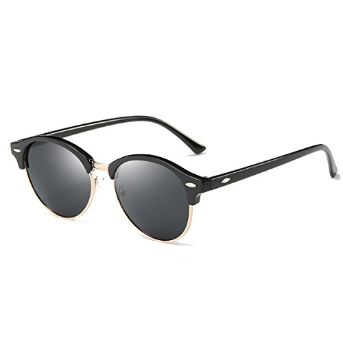 AZORB Polarized Clubmaster Round Sunglasses Unisex Semi-Rimless Horn Rimmed (Black/Black, - Clubmaster Round