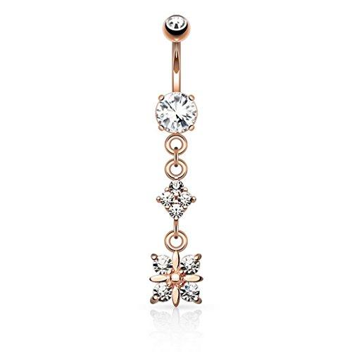 Piercing nombril Paved Diamond doré à l'or fin - Couleur: Or/Clair