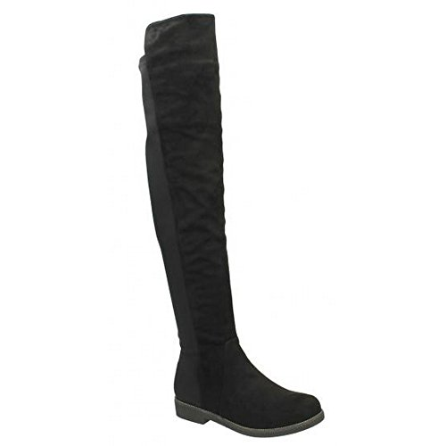 Boots Flat On Black Spot Ladies High Knee Womens cWcRf